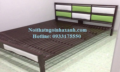 Giường sắt hộp vuông kiểu gỗ 1m2