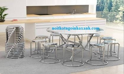 Bộ bàn ghế inox ( 1  tròn inox cạnh vuông 1m2 và 10 ghế inox cao 50cm)