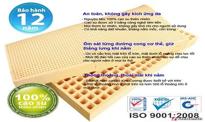 Nệm Cao Su Tự Nhiên Kim Cương happygold 1m8x2mx10cm